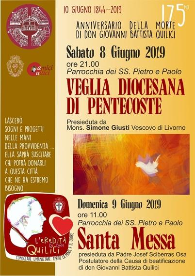 """Anniversario della morte di Don Giovanni Battista Quilici """"VEGLIA DIOCESANA DI PENTECOSTE"""""""